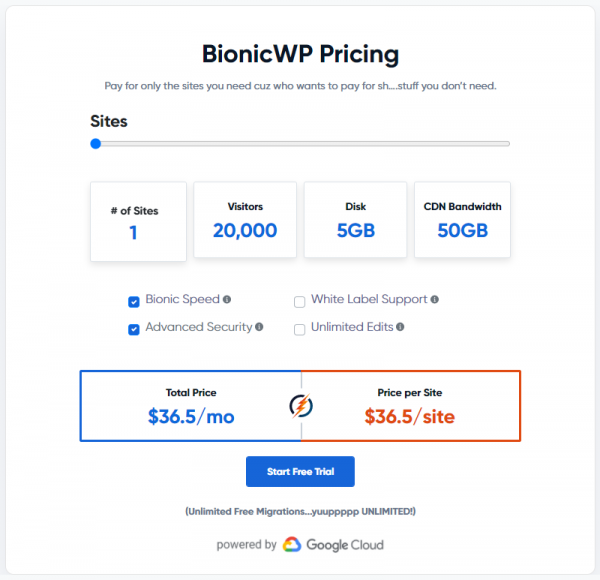 BionicWP 1 site Managed WordPress Hosting