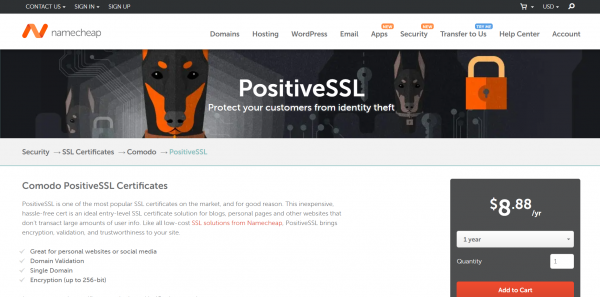 Comodo Positive SSL Certificates