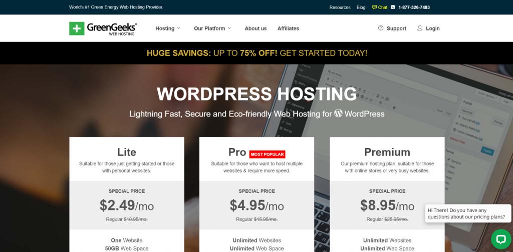 GreenGeeks WordPress Hosting