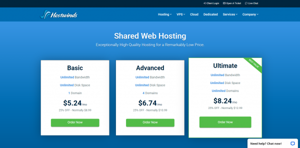 Hostwinds Basic Shared Web Hosting